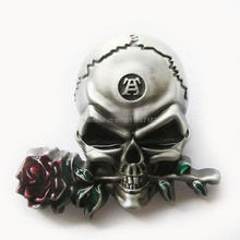 Distribute Belt Buckle Skull With Rose Flower Belt Buckle Free Shipping 6pcs Per Lot Mix Style is Ok