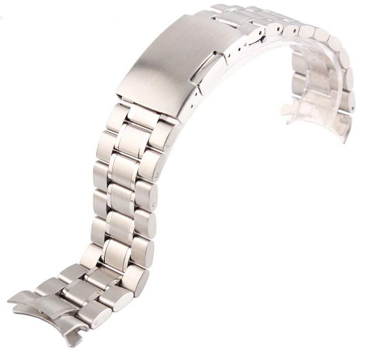 Unisex 18mm 20mm 22mm 24mm Silver Steel Watch Band Strap Bracelet Solid New Curved End Free Shipping<br><br>Aliexpress