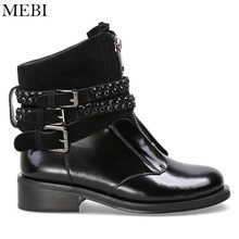MEBI 2018 New Women Ankle Boots Black Rhinestones Booties Shoes Woman Motorcycle Boots Punk Women Buckles Shoes for Women Boots(China)
