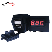 Waterproof 12V Motorcycle ATV Scooter with LED Digital Display Voltmeter Voltage Dual USB Power Socket Charger Power Switch