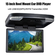 15''HD 1080P Video Car Roof Flip Down Slim Monitor Overhead DVD Player(China)