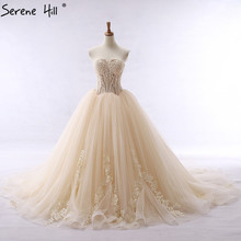 New Bridal Lace Ball Gown Wedding Dress Train Beading Tulle Sweetheart Wedding Gown 2017 Real Picture Serene Hill(China)