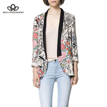 2016 spring autumn wholesale retro vintage Oriental birds flowers floral print long sleeve long blazer jacket real photo(China)