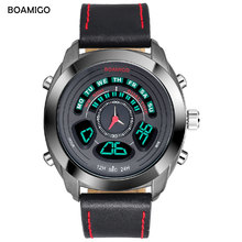 BOAMIGO Brand latest Men Sports Watches Fashion style multifunction Digital Analog Quartz Watches leather 30m waterproof clock(China)