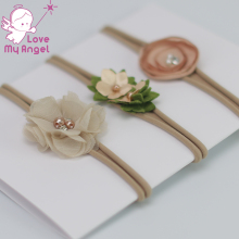 3pcs/set Newborn headband skinny soft nylon headband satin chiffon flower girl headband