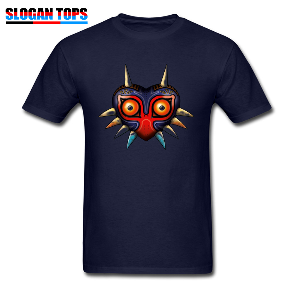 Hip hop Majoras Mask Zelda 17572 Male Tshirts 2018 Popular Summer Fall Short Sleeve Tops Shirts Crewneck 100% Cotton T-Shirt Majoras Mask Zelda 17572 navy