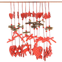 New 12pcs Wooden Christmas Ornament Decorations Christmas Tree String Pendant Creative Carving New Year Home Adornment(China)