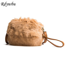 Rdywbu Women's Faux Fur Shell Shoulder Bag Winter New Plush Wrist Bag Girl's Small Warm Crossbody Messenger Bag Mini Bolsas B639(China)
