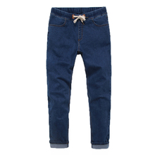 Solid Color New Jeans Plus Size 5XL 6XL Mens Trouser Fashion Slim Fit Wash Denim Trousers High Elastic Long Trouser