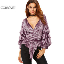 COLROVIE Women Fashion Clothes Women's Tops and Blouses Shirt Autumn Shirt Purple Tops Billow Sleeve Velvet Wrap Blouse