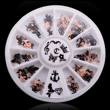 New 12Designs 3d Metal Christmas Nail Art Accessories Black Gold 2 sides Nail Sticker Decorations Wheel