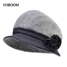 VOBOOM Retro Vintage Striped Women Wool Blend Felt Floppy Fedora Bowler Cloche Hat Lady Cap 309(China)