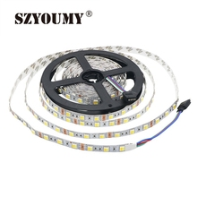 SZYOUMY 20roll 100Metes 2 In 1 Chip Dual Color CCT Adjustable /Dimmable 12V LED Fleixble Strip 5050 White & Warm White DHL UPS(China)
