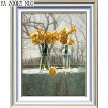 Flowers DIY Diamond Painting Cross Stitch Yellow flowers tree Crystal Diamond Set Needlework Full Diamond Embroidery decor KL964