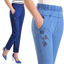 Plus size L-5XL Elastic waist Mother jeans pants middle-aged women embroidery flowers straight denim pants nine pants a251