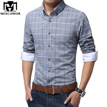 Plus Size Shirts New 2017 Spring Casual Men Shirt Cotton Linen Mens Dress Shirt Slim Fit Plaid Shirt Long sleeve Camisas MC127(China)