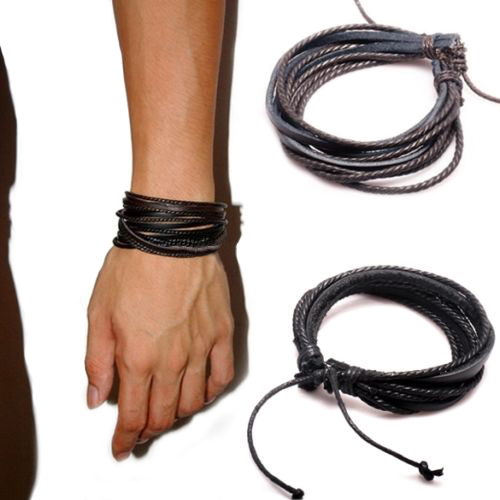 Women's men's Synthetic Leather Braided Rope Adjustable Multilayer y Bracelet 5SPQ 6KFT 7IRL(China (Mainland))