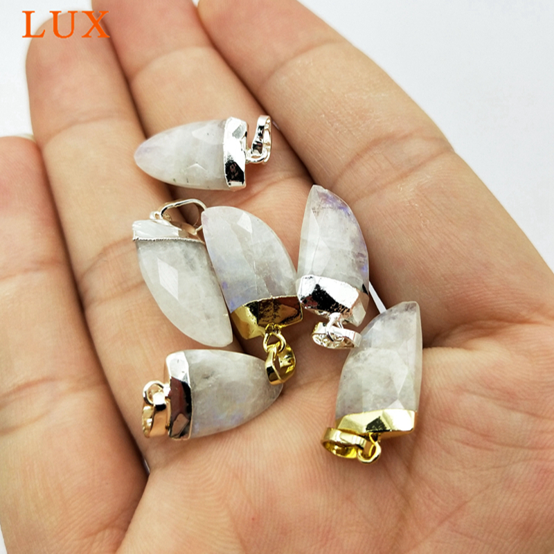 Wholesale tiny moonstone pendant gold silver plated pendants for necklace making faceted bullet horn shape stone pendants L049