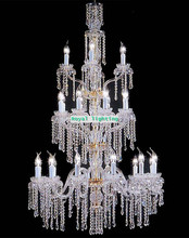 Led Extra long chandelier cristal lustres Penthouse large crystal chandeliers 24 candle lights hotel luxury chandelier luminaria(China)