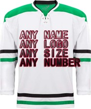 Customized Any ICE Hockey Jerseys Any logo/Name/Number Green/White Sewn On XXS-6XL Embroidery Wholesale China Free Shipping