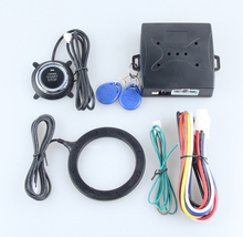 Universal car alarm system with RFID transponder immobilizer, push button start stop and alarm/disarm, car status memory