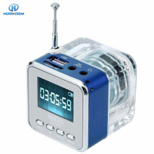 NiZHi TT029 Crystal lighting Mini Digital Speaker Music portable radio Micro SD/TF USB Disk mp3 fm radio LCD Display clock radio
