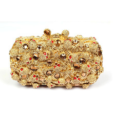 Luxury Golden Evening Handbags for Women Mini Gold Crystal Clutch Bag UK Sale Cheap Ladies Wedding Dress Bag Purse for Brides