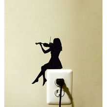 Violin Girl Switch Sticker Decoration Vinyl Wall Decal Room Home Decoration 5WS0063(China)