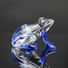 Blue Colored Cute Frog Crystal Miniature Glass Animal Crafts For House Ornaments Home Decoration Accessories Gifts(China)