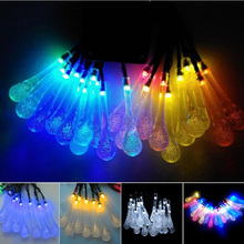 20Led Solar Light String Yard Tree Lawn Xmas Decor for Garden 5M Solar Powered Water Drop String Fairy Light  Sale CLH
