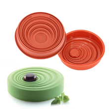 1 PCS Wine Red Silicone Water Ripples Shape Mold For Cornbread Mousse Cake Pie Brownie Bakeware Tools(China)