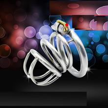 Buy 2016 New cage chastity device stainless steel metal catheter penis lock chastity urethral penis ring chastity belt men