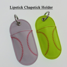 Wholesale Softball Baseball Leather Chapstick Holder Lipstick Holder Ready in Stock(China)