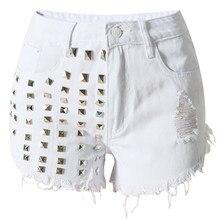 Femme D été de Haute Taille Jeans Shorts Femme Short En Jean Vintage rivet  gland Sexy Punk Shorts Jeans Blanc Noir Lumière bleu 8c69b6abc1b