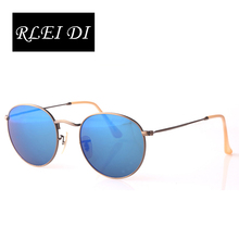 RLEI DI High quality Round Metal Top grade Sunglasses Eyewear Flash Colorful Glass Lens Men Women Travel Optical Sun Glasses(China)