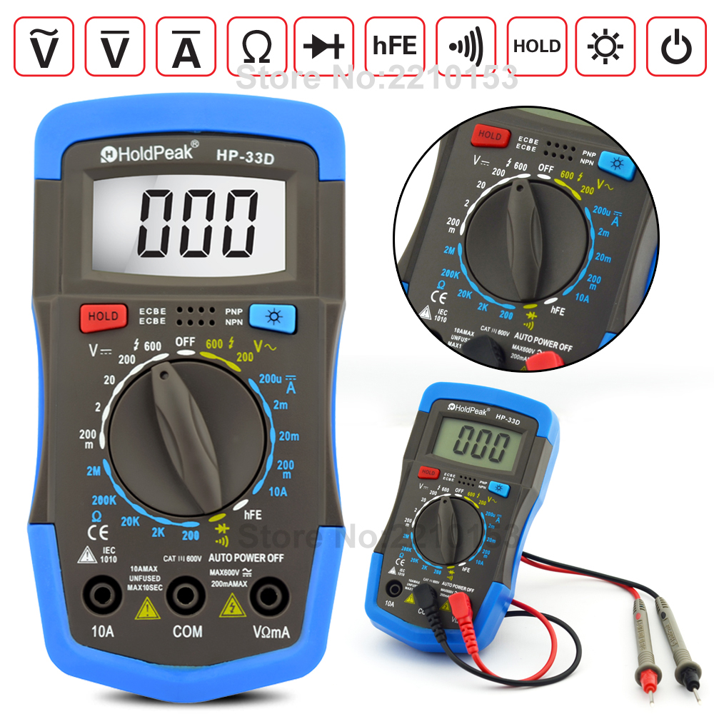 DC/AC Mini Multimeter Digital Multimeter Ammeter Voltmeter Ohmmeter Diode hFE Current Tester and LCD Backlight Electrical tool<br><br>Aliexpress