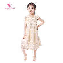 Kaiya Angel Girls Dress 2017 Wedding Dresses Lace Baby Girl Clothes Tulle Flower Girl Dresses Summer Cream Kids Clothes(China)
