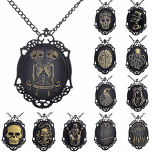 Necklace  Wholesale Retro  Skeleton Pendant Link Chain Cameos  Necklace Jewelry Friendship Gifts  K04398