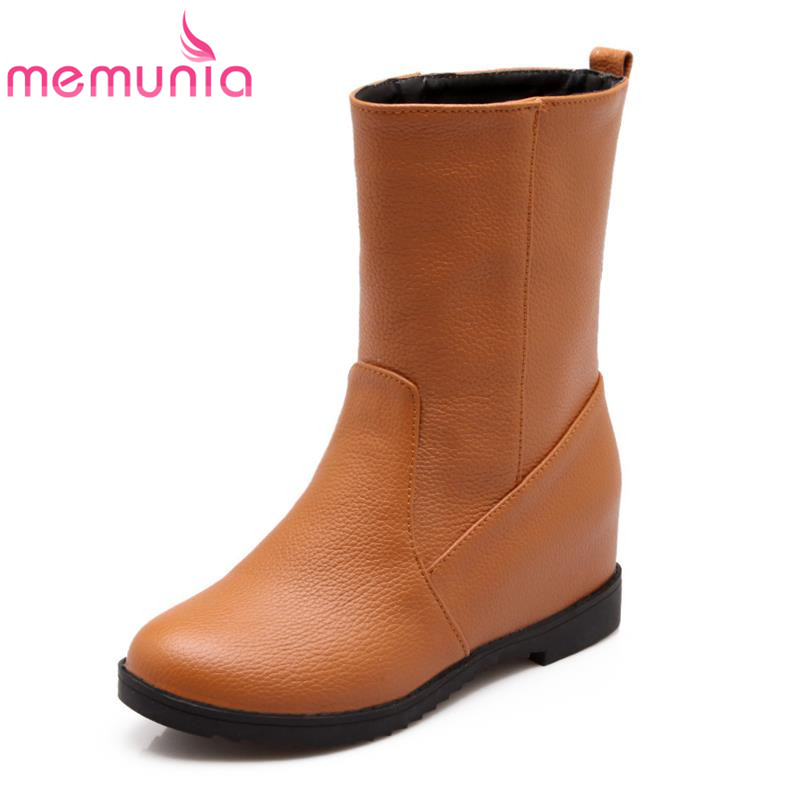 Single plain fashion solid round toe ankle boots for women sweet soft leather appointment skid resistance autumn boots<br><br>Aliexpress