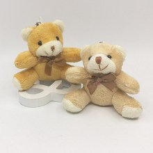 1Pcs 8CM Mini Plush Sitting Teddy Bear With Bow Tie Bear Urso De Pelucia Oso Dolls cellphone bag key chain