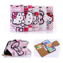 Lovely Hello Kitty 3D Bowknot PU Leather Cases for Samsung Galaxy S5 i9600 S 5 Mobile Phone Flip Case Cover Wallet Luxury Cute