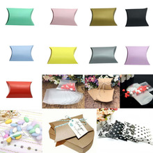 50pcs/lot New Style Pillow Shape Box Candy Box Gift Box for Wedding Party Favor Decor Paperboard / PVC /Brown Kraft Wholesales(China)