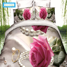 BEST.WENSD Quilt covet sets King Size 3D Rose Bedding Set Bedclothes 4pcs Family Duvet Cover Set 1 * Sheets 1 * Pillowcase *2(China)