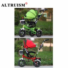 Altruism Multifunctional stroller Inflatable Rubber tires baby tricycle sunshade seat direction shock absorption child bicycle(China)