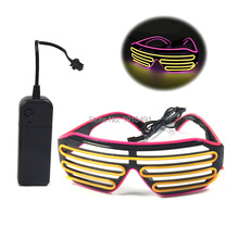 Fashionable Multicolor Fancy Pink+Yellow LED Sunglasses Holiday Lighting Crazy Lovely EL Cold Light Glasses for Birthday,Wedding(China)