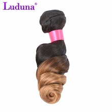 Luduna Brazilian Loose Wave Ombre Hair Bundles 100% Human Hair Weave 1B/27 Color 2 Tone Non-remy Hair Can Be Curly and Dyed