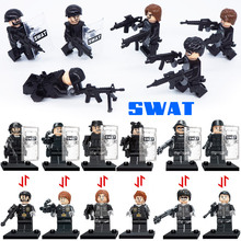 SWAT Small Toy Action Figures Riot Special Froces Tactic Armed Police Policeman Building Block Police Toy with Shield Gun Weapon(China)