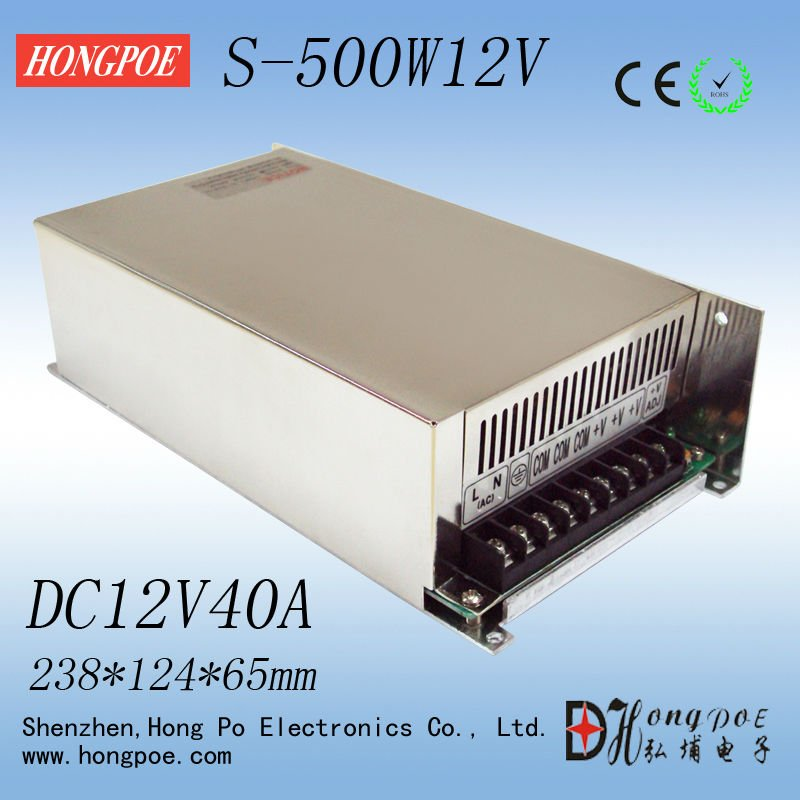 New Arrival 12V 40A 500W Switching Power Supply Driver for LED Strip AC 100-240V Input to DC 12V<br><br>Aliexpress