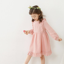 New Arrival Korean Autumn Fall Girls Dress Sweet Pink Long Sleeved Children Clothing For Kids Casual Birthday Party Dress