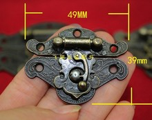 49 * 39MM antique wooden box hasp lock box buckle decoration buckle zinc alloy hinge black box buckle trumpet mushrooms